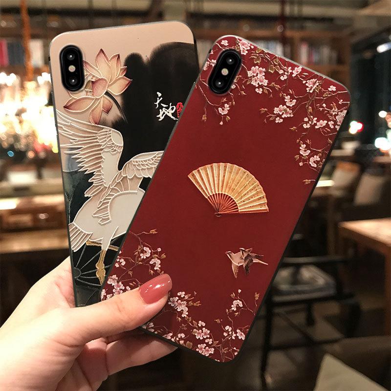 タオバオ仕入れ代行-ibuy99 iphone 浮雕彩绘手机壳适用苹果11pro小清新iphoneXR硅胶mate30pro防摔壳