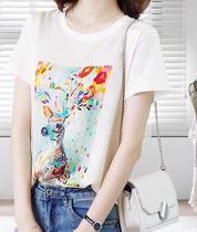 6056 沐西卡AB面数码印花彩鹿T恤W21BT06012MXK