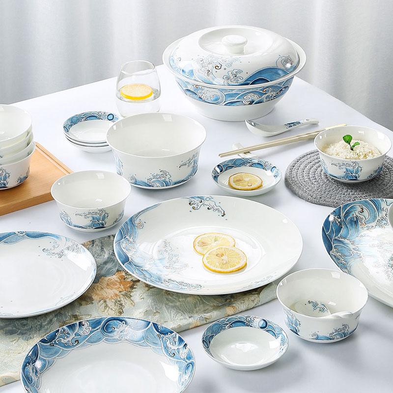 墨色套装中式家用景德镇骨瓷碗碟