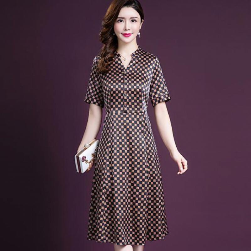 实拍现货真丝连衣裙女新款夏装气质修身妈妈杭州丝绸桑蚕丝裙子