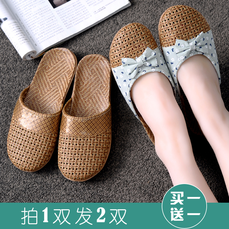 Household cool rattan slippers Summer couple of men and women household flax non-slip thick floor sandals women