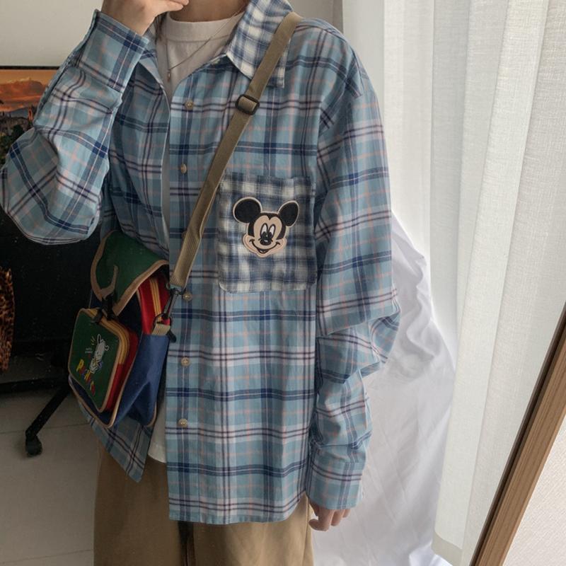 韩国chic学院风 童趣卡通刺绣 复古拼接长袖蓝色格子衬衫外套女夏(非品牌)