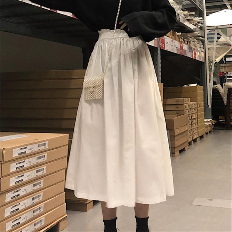 裙子女2019新款夏韩版chic松紧花苞腰白色百褶长裙半身裙女学生图片