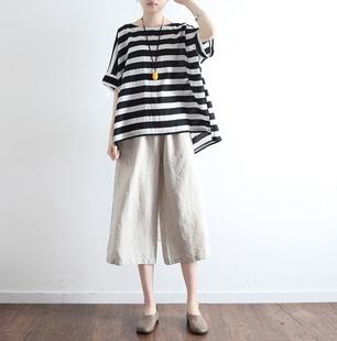 19夏季新款亞麻棉麻寬松大碼蝙蝠袖圓領套頭上衣女條紋印花襯衣T