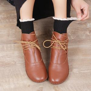 19秋冬季经典黑色舒适百搭文艺森女牛皮鞋马丁复古日系短靴女靴子