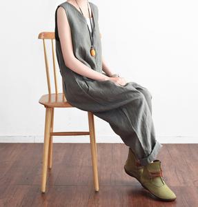 21夏季新款原创设计宽松文艺率性亚麻连体裤阔腿长档女裤旅行好品
