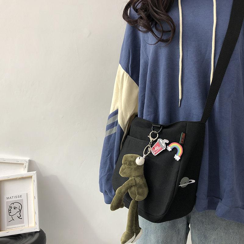 斜挎包女百搭ins小包帆布包学生韩版时尚简约大容量少女日系单肩图片
