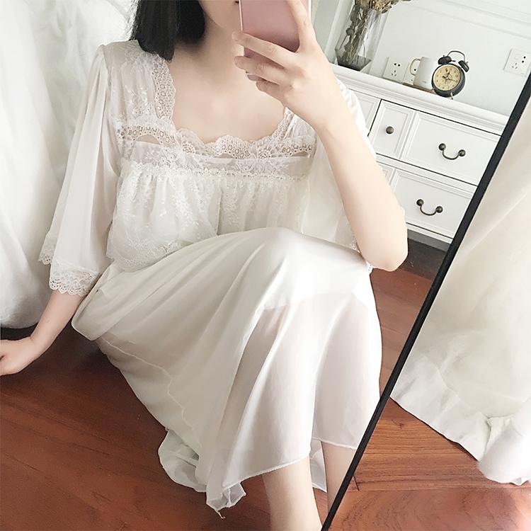 公主睡衣女夏季短袖复古宫廷蕾丝性感长裙冰丝可爱睡裙女夏家居服