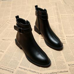小短靴女2020年秋冬季新款百搭平跟平底女靴子尖头chic瘦瘦马丁靴