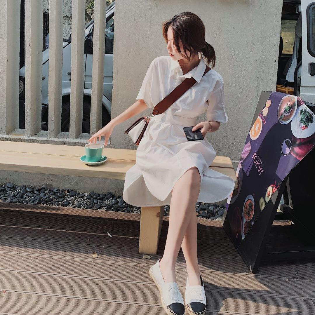 夏季小众设计雾霾蓝翻领单排扣收腰交叉绑带心机纯色衬衫连衣裙韩