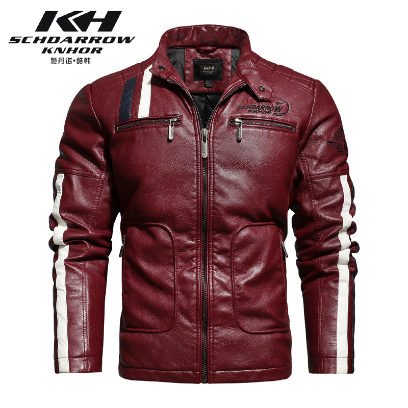 Fashionable mens new autumn and winter motorcycle leather racing suit color matching embroidery motorcycle Pu jacket windproof and cotton jacket