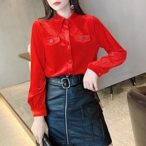 丝绒长袖衬衫2020春装新款女装时尚洋气设计感小众打底衫气质上衣