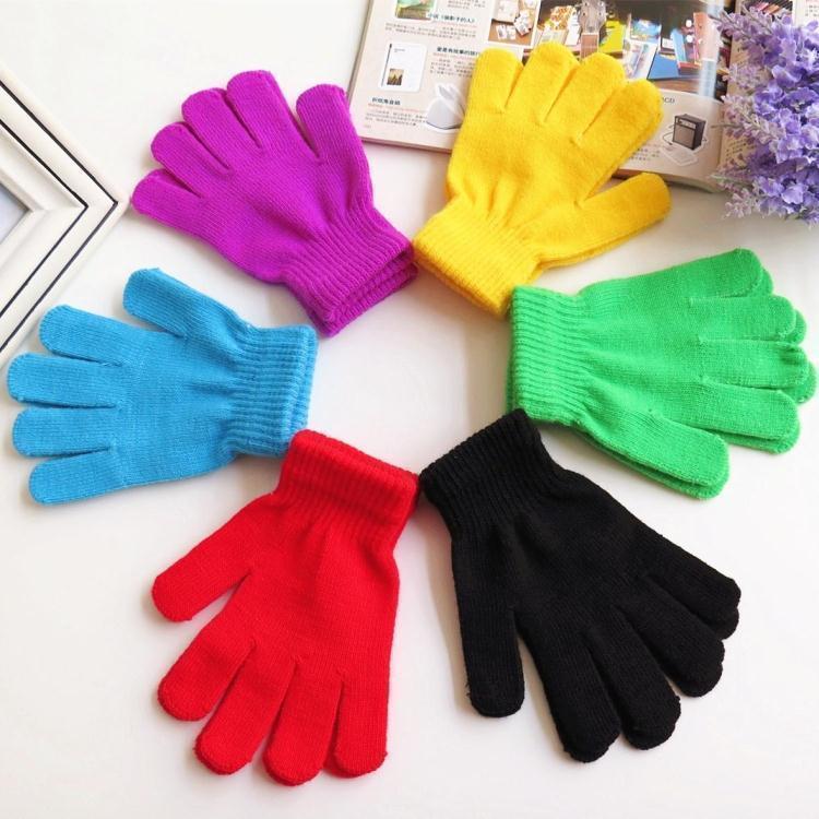 儿童手套秋冬季薄款毛线针织糖果色纯色手套男童女童小孩保暖手套