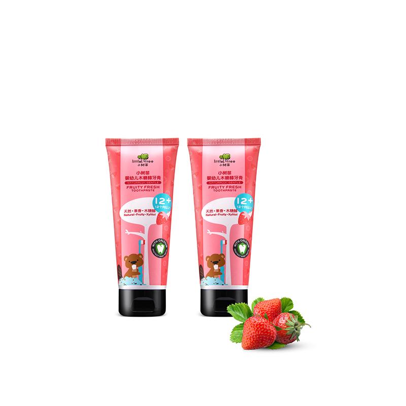 英国品牌小树苗儿童牙膏1-12岁无氟可吞咽宝宝牙膏25g两支套装
