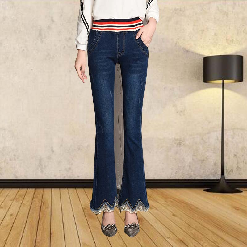 Micro speaker and velvet jeans womens elastic waist in autumn and winter, slim and slim, fashionable lace side pants
