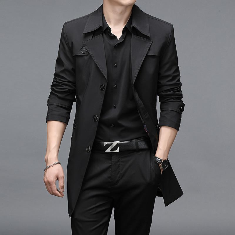 风衣男2020春秋中长款修身男士外套英伦韩版潮流青年休闲薄款上衣