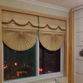 定制竹帘罗马窗帘阳台隔断茶楼茶室装饰帘升降帘扇形家用遮光卷帘