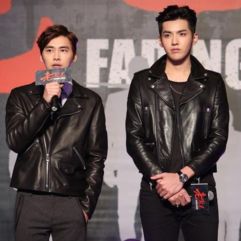 Leather Mens jacket, youth motorcycle suit, autumn and winter new coat, slim fit, Korean version, fashionable and handsome, Wu Yifans same thin style