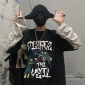 黑色T恤女潮 ins原宿风bf嘻哈宽松假两件上衣长袖 2019初秋新款 韩版
