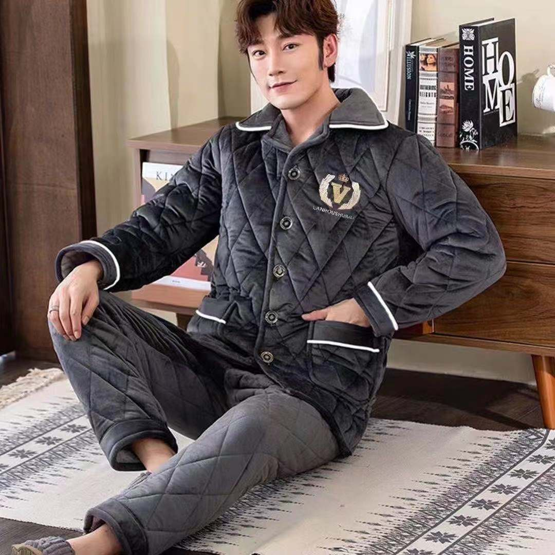 Mens pajamas winter coral Plush thickened Plush jacket three-layer cotton jacket autumn and winter warm flange home clothes