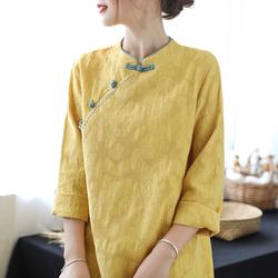 代勒原创文艺中国民族风盘扣刺绣中长款连衣裙女宽松显瘦改良茶服