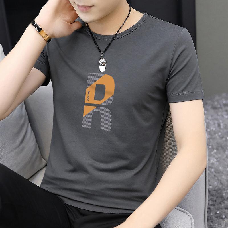 莫代尔棉夏天短袖t恤男装印花冰丝冰感上衣服夏季潮牌潮流ins半袖