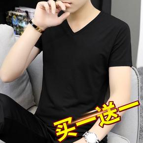 莫代尔棉短袖t恤男装夏季潮牌潮流V领纯色黑色冰丝冰感半袖打底衫