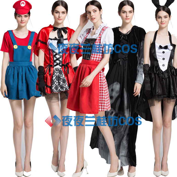 Role play Bunny Witch Dress Bar Party Halloween Costume Christmas Costume