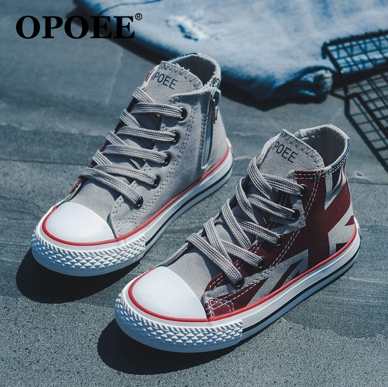 High top childrens Canvas Shoes Boys Board Shoes girls shoes British style 2021 spring and autumn new baby cloth shoes trend