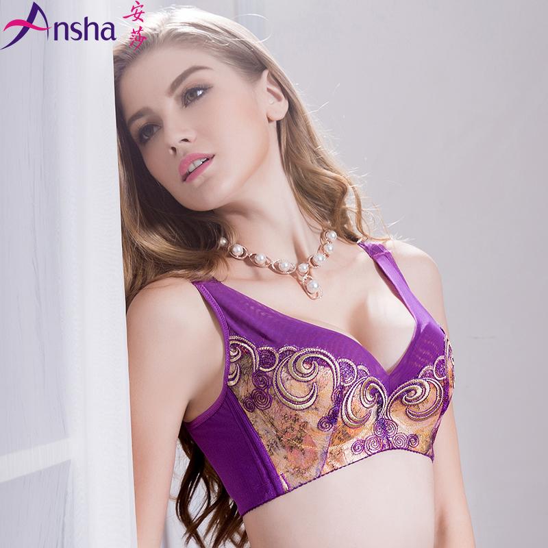 安莎2018背心式新款文胸罩网纱深V调整型聚拢上托收副乳舒适AB杯X