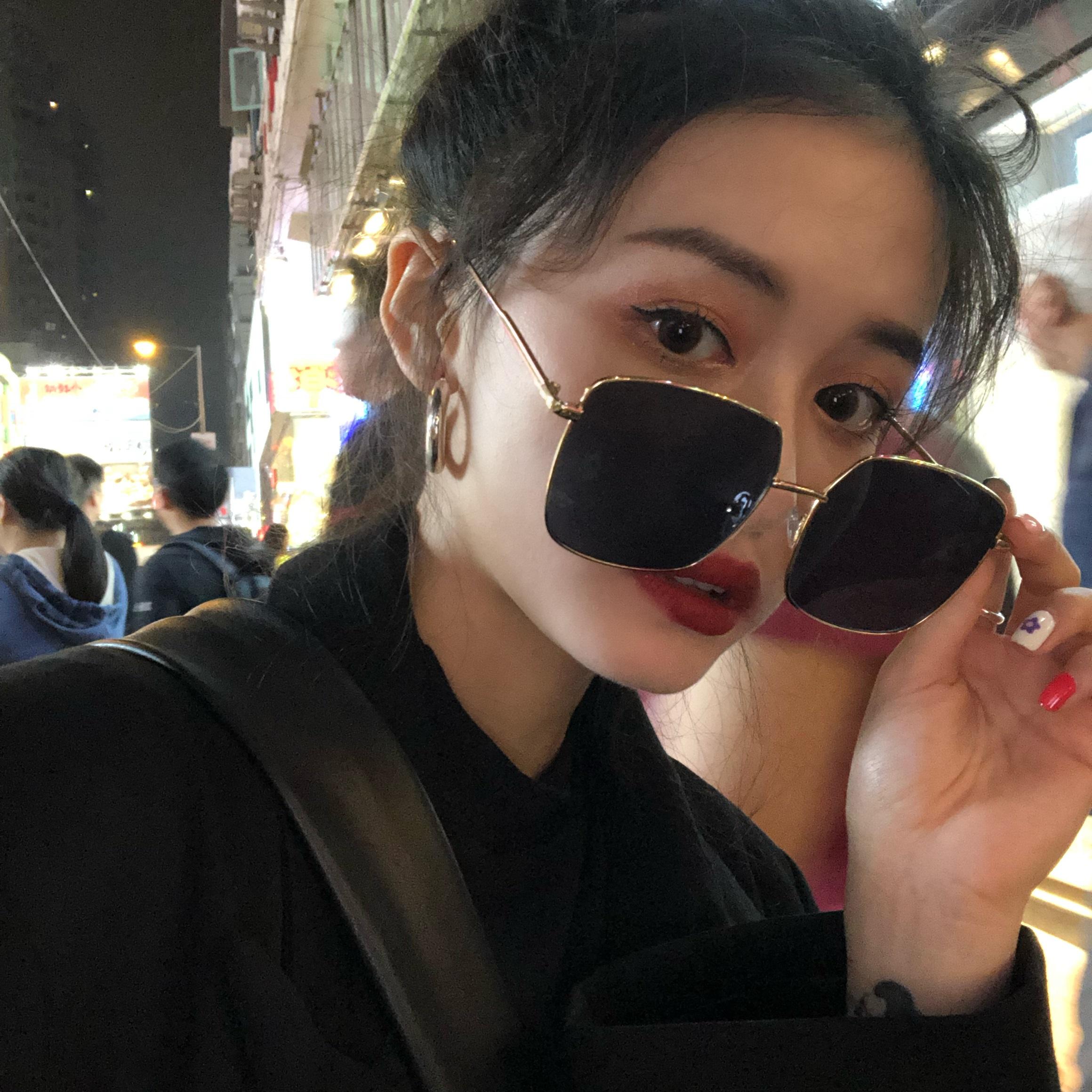 黑色大框太阳镜女士防紫外线网红墨镜百搭时尚偏光眼镜夏季遮阳镜