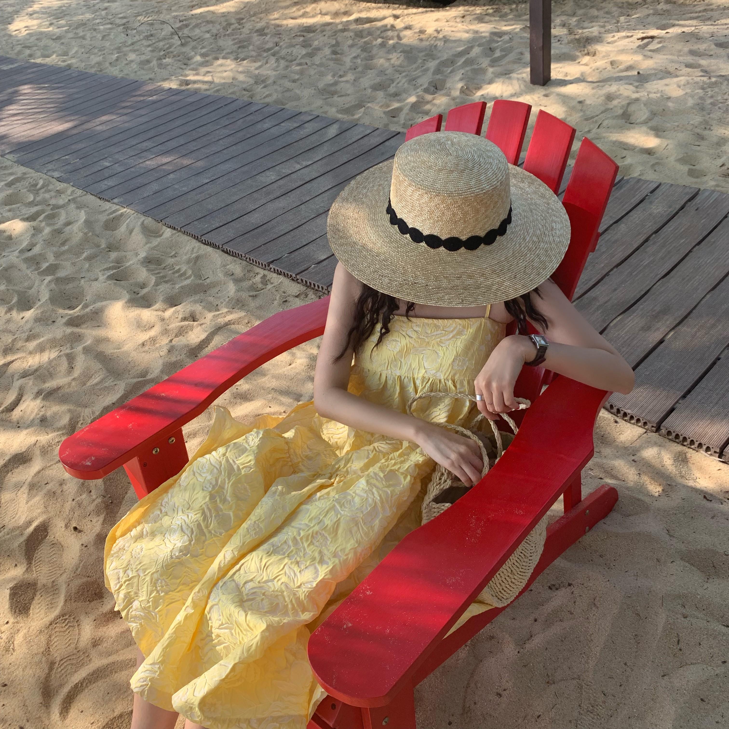 夏季户外出游防晒草帽女式遮阳帽海边沙滩太阳帽子休闲优雅韩版潮