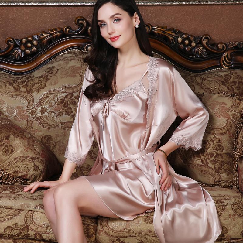 睡衣女夏季薄款性感蕾丝吊带睡裙冰丝丝绸睡袍女士两件套装春秋季