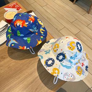 宝宝渔夫帽夏季儿童帽子薄款大檐遮阳防晒可爱超萌男童春秋季女童