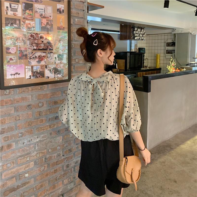 控5实拍实价新款韩版宽松前后两穿后背蝴蝶结波点衬衣上衣