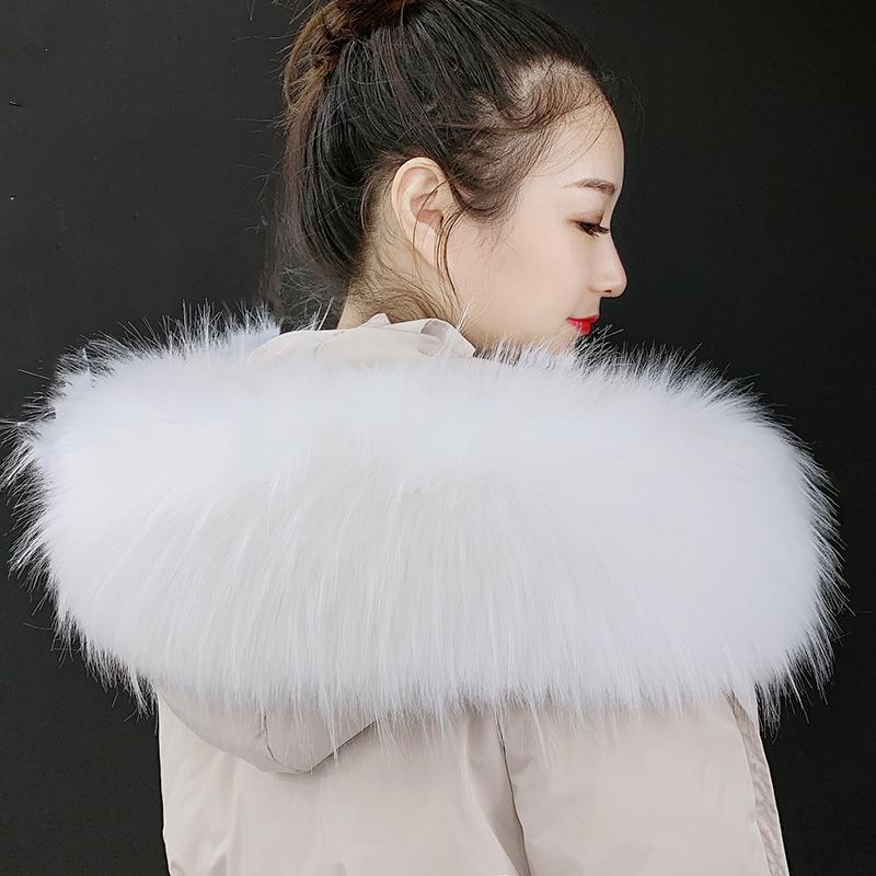 Autumn and winter clothes feather collar down jacket imitation fox feather stripe coat cotton padded jacket collar collar collar nice looking hat stripe universal