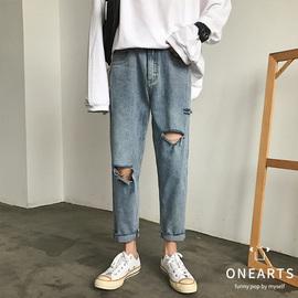 裤子男夏季薄款宽松直筒九分裤潮流ins破洞裤韩版牛仔裤潮牌长裤
