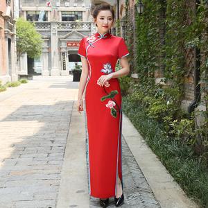 新款2019春季小香风年轻改良长款演出礼服女张曼玉同款年