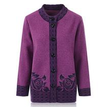 中老年人羊毛衫秋冬装上衣奶奶装开衫毛衣厚加肥加大码老太太女装