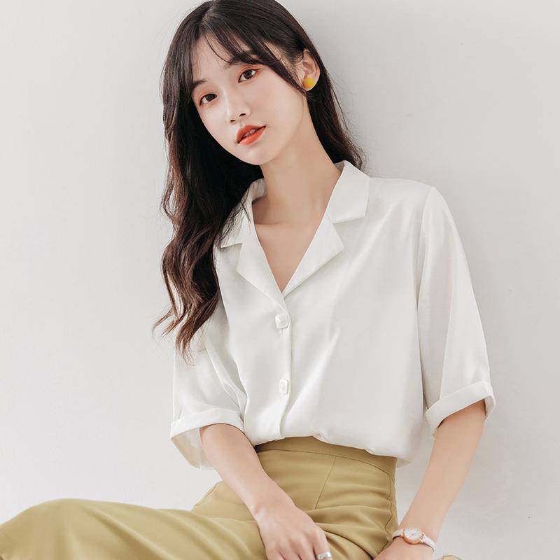 2020春夏新款白衬衣职业雪纺白色衬衫女士设计感小众中袖气质上衣