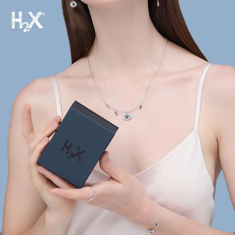 H2X恶魔之眼戒指女纯银水晶简约指环气质意式轻奢潮流送闺蜜礼物