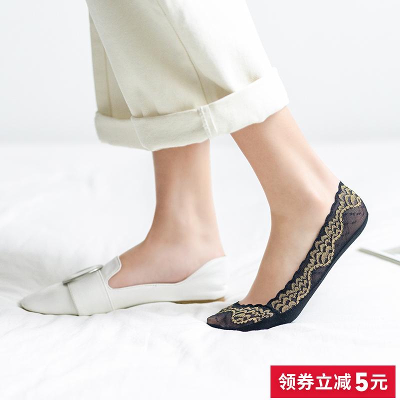 蕾丝袜子女船袜浅口隐形夏季薄款纯棉袜底硅胶防滑高跟鞋冰丝短袜