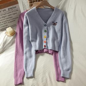 气质彩色纽扣短款针织开衫上衣女秋季修身百搭v领长袖毛衣小外套