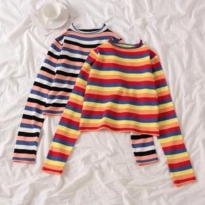 彩虹条纹彩色半高领毛衣女2020春新款短款修身针织长袖打底衫上衣