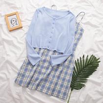 针织衫上衣+吊带格子连衣裙女2020春夏季新款韩版裙子两件套套装