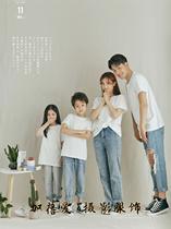亲子装网红款摄影服装影楼拍照一家四口白色T恤简约北欧风全家福