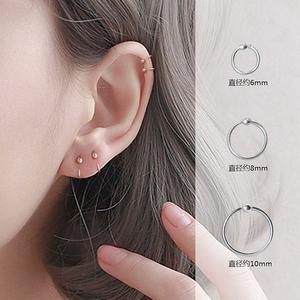 S999纯银耳环小耳圈女耳骨环个性气质简约迷你防堵过敏发炎耳钉