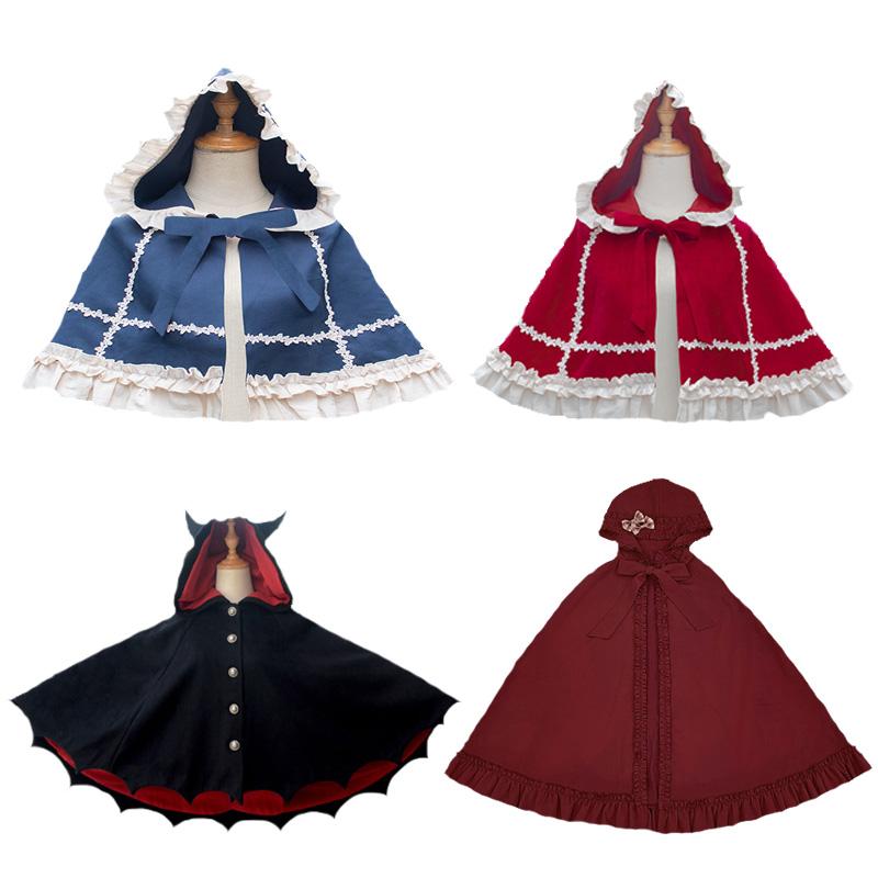 Lolita cloak coat womens autumn and winter weaving Jinyuan new little red hat literature and art RETRO Cape short coat