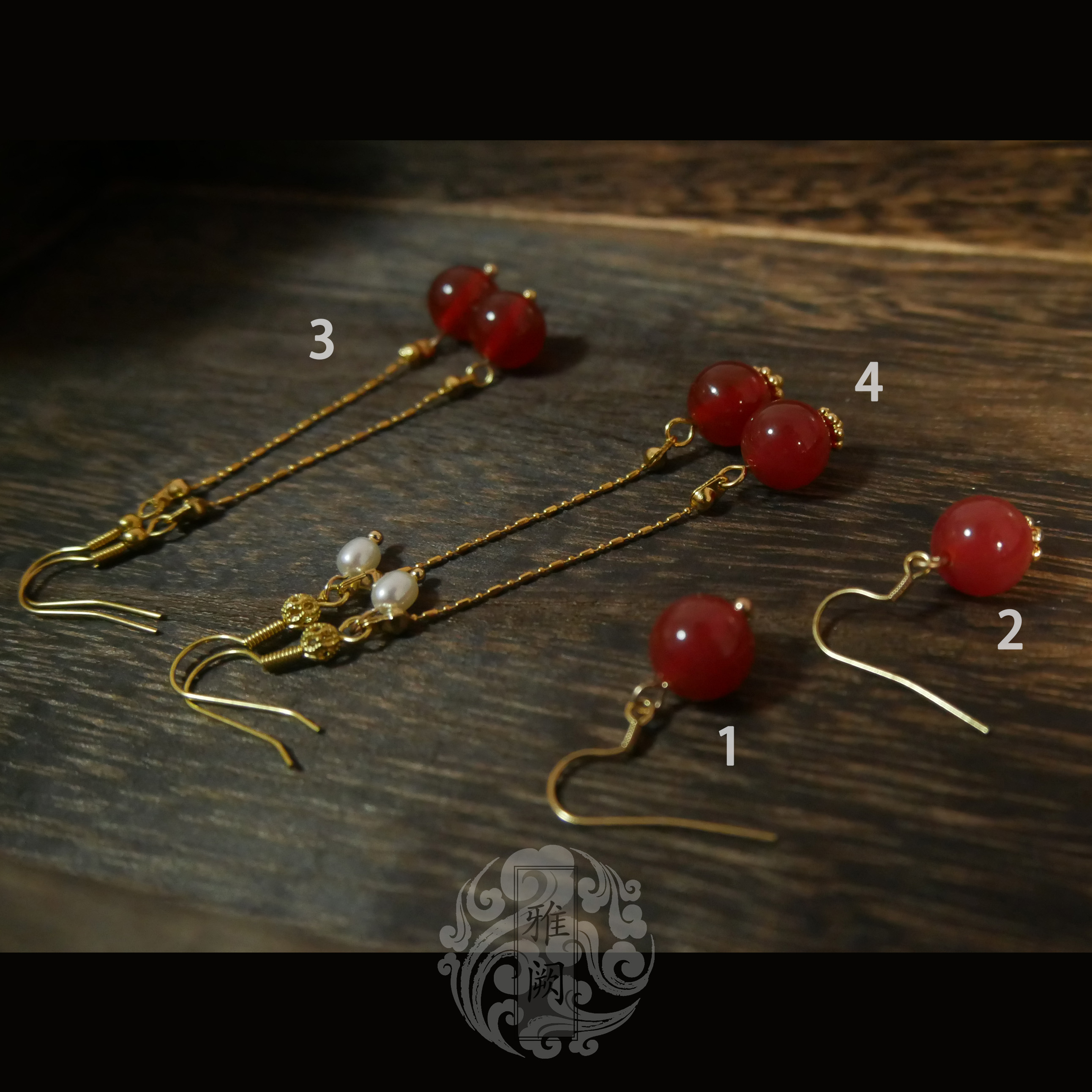 Yaque Red Agate Earrings four kinds of earrings