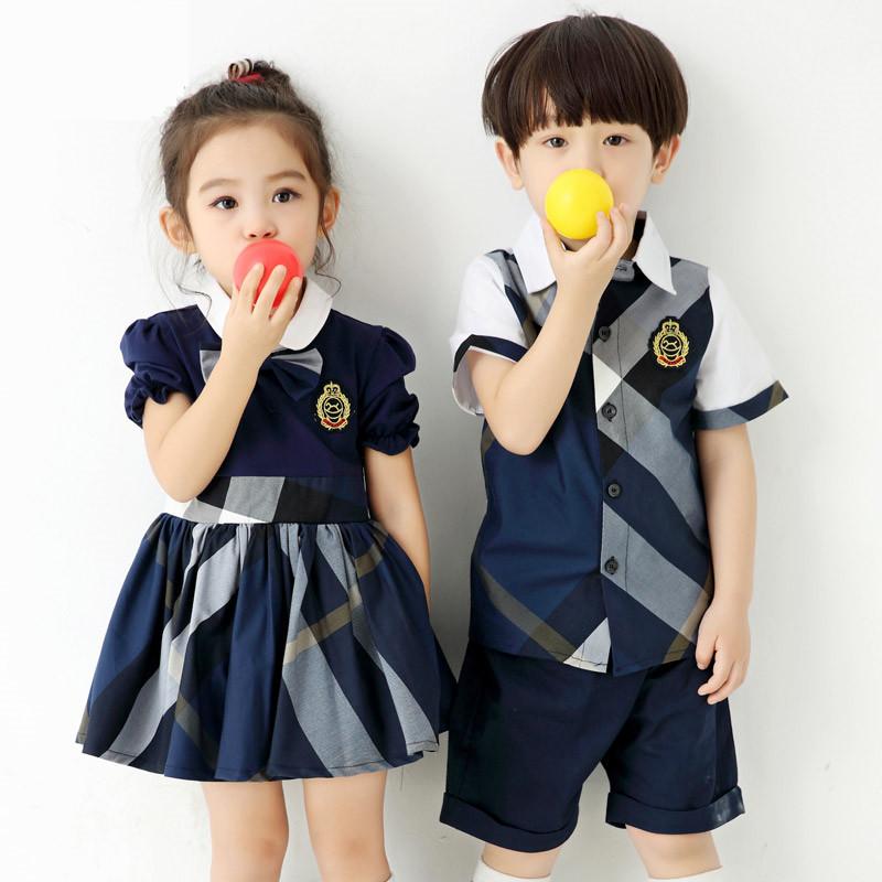 夏季幼��@�@服英���L小�W生班服夏�b�棉�和�校服短袖套�b演出服